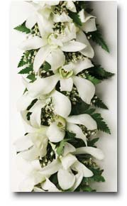a beautiful lei with white orchids and ferns